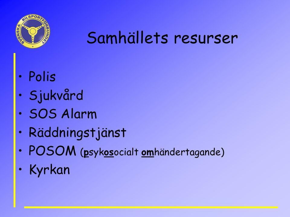 Samhällets resurser Polis Sjukvård SOS Alarm Räddningstjänst POSOM (psykosocialt omhändertagande) Kyrkan