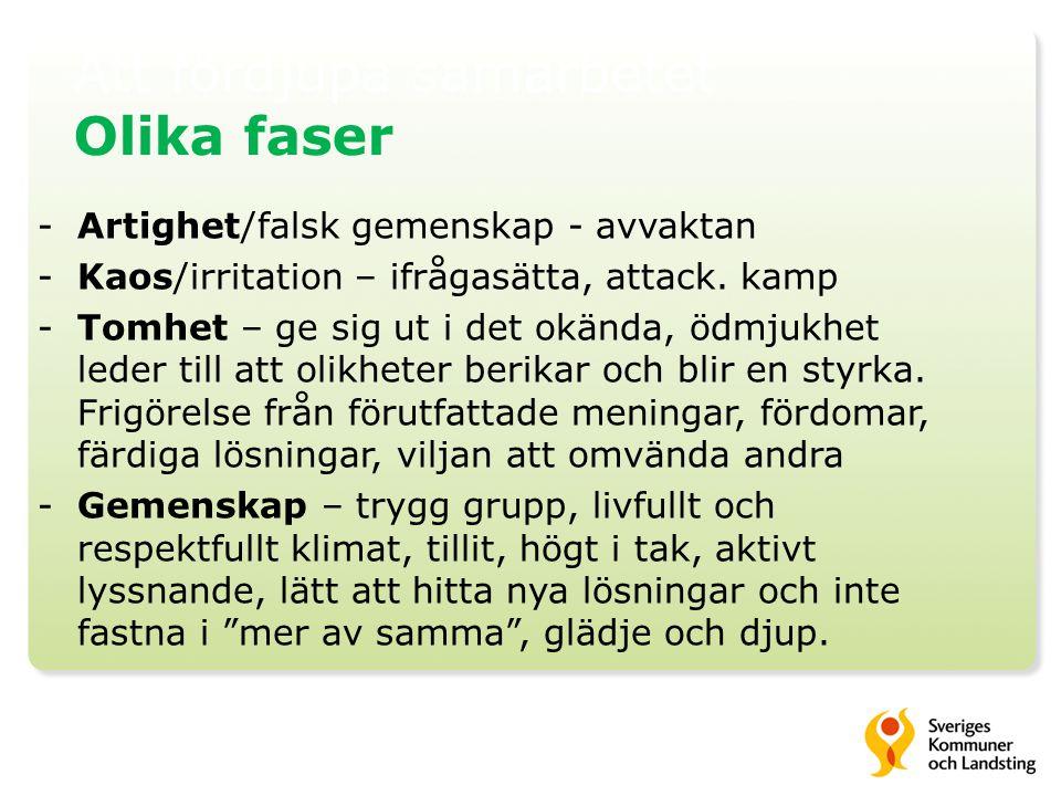 Att fördjupa samarbetet Olika faser -Artighet/falsk gemenskap - avvaktan -Kaos/irritation – ifrågasätta, attack.