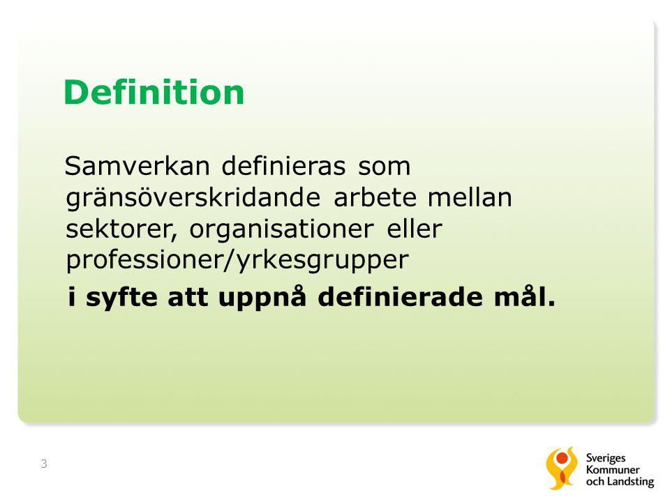 3 Definition Samverkan definieras som gränsöverskridande arbete mellan sektorer, organisationer eller professioner/yrkesgrupper i syfte att uppnå definierade mål.