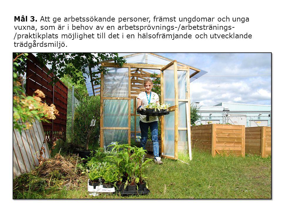 Delmål Att undersöka hur trädgården kan användas för metodutveckling i samverkan med till exempel Samordningsförundets olika projekt