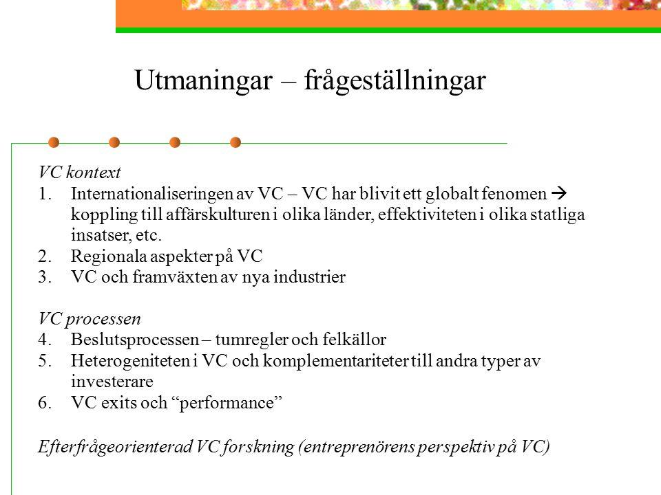 Utmaningar – frågeställningar VC kontext 1.Internationaliseringen av VC – VC har blivit ett globalt fenomen  koppling till affärskulturen i olika länder, effektiviteten i olika statliga insatser, etc.