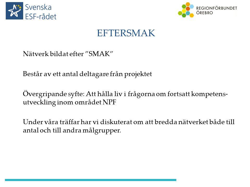 """EFTERSMAK Nätverk bildat efter """"SMAK"""" Består av ett antal deltagare från projektet Övergripande syfte: Att hålla liv i frågorna om fortsatt kompetens-"""