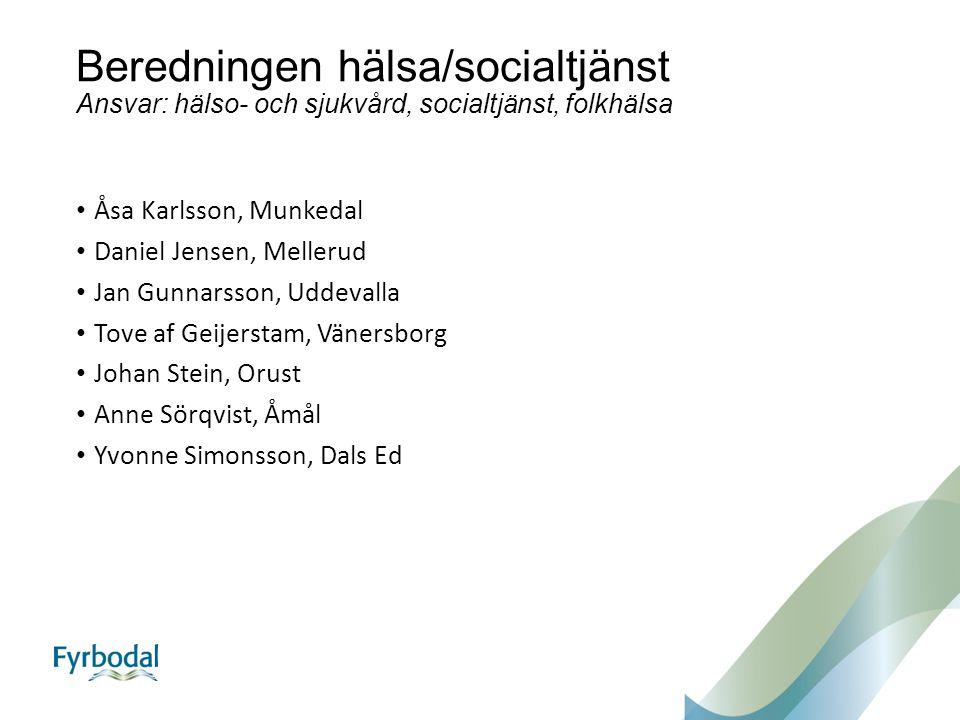 Beredningen hälsa/socialtjänst Ansvar: hälso- och sjukvård, socialtjänst, folkhälsa Åsa Karlsson, Munkedal Daniel Jensen, Mellerud Jan Gunnarsson, Udd
