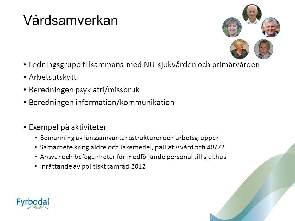Vårdsamverkan Ledningsgrupp tillsammans med NU-sjukvården och primärvården Arbetsutskott Beredningen psykiatri/missbruk Beredningen information/kommun