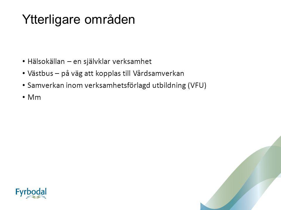 Ytterligare områden Hälsokällan – en självklar verksamhet Västbus – på väg att kopplas till Vårdsamverkan Samverkan inom verksamhetsförlagd utbildning (VFU) Mm