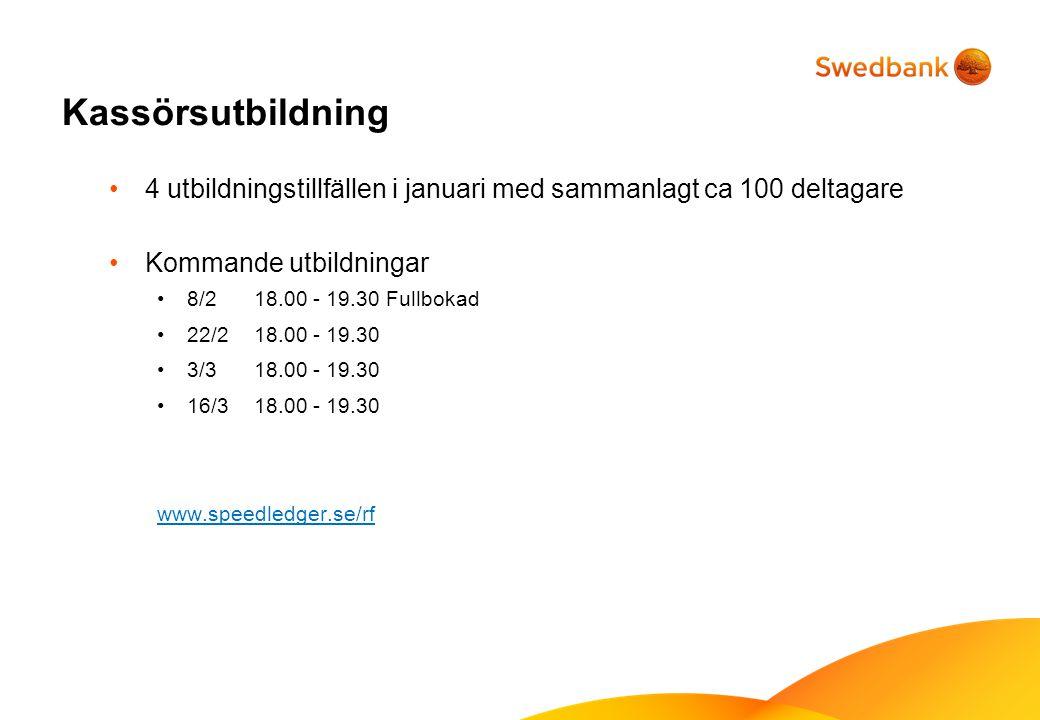 Kassörsutbildning 4 utbildningstillfällen i januari med sammanlagt ca 100 deltagare Kommande utbildningar 8/2 18.00 - 19.30 Fullbokad 22/2 18.00 - 19.