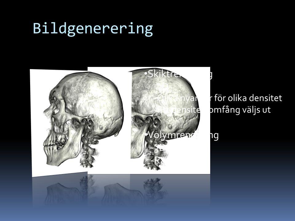 Bildgenerering Skiktrendering -2D -Olika nyanser för olika densitet -Ett densitetsomfång väljs ut Volymrendering -3D -Ray casting