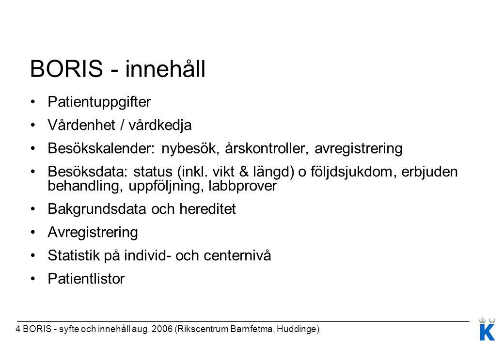 4 BORIS - syfte och innehåll aug. 2006 (Rikscentrum Barnfetma, Huddinge) BORIS - innehåll Patientuppgifter Vårdenhet / vårdkedja Besökskalender: nybes