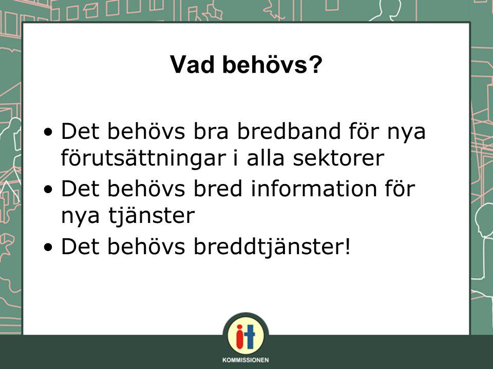 Vad behövs? Det behövs bra bredband för nya förutsättningar i alla sektorer Det behövs bred information för nya tjänster Det behövs breddtjänster!