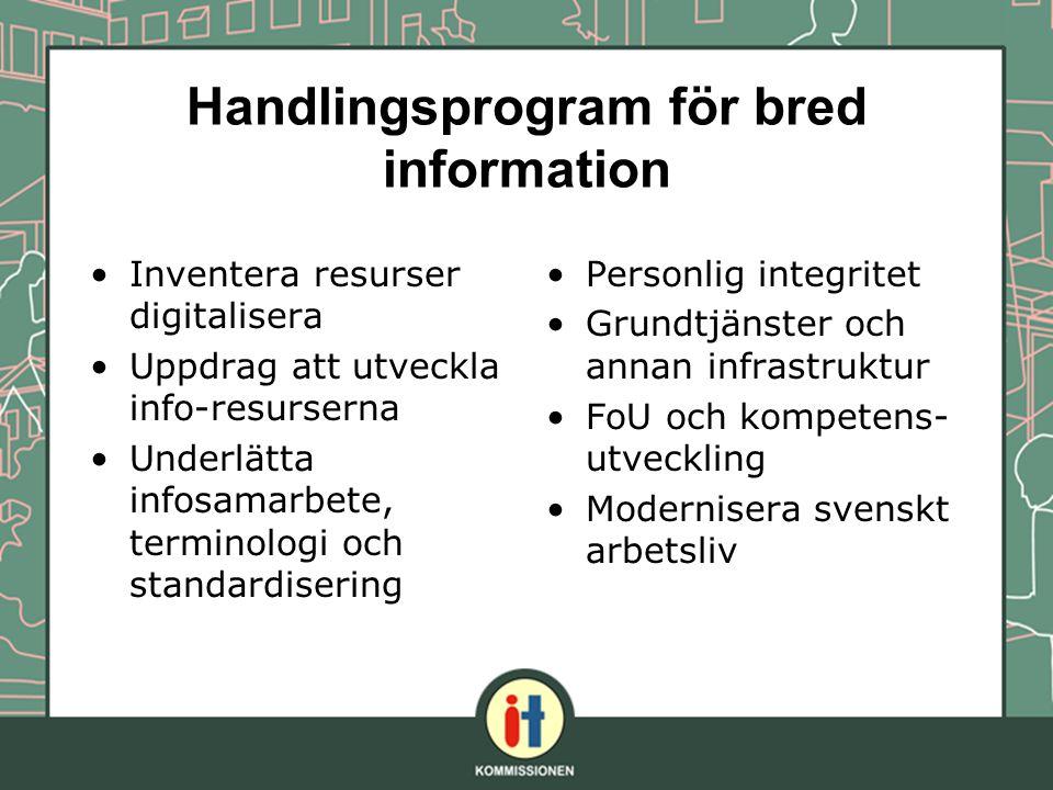 Handlingsprogram för bred information Inventera resurser digitalisera Uppdrag att utveckla info-resurserna Underlätta infosamarbete, terminologi och s