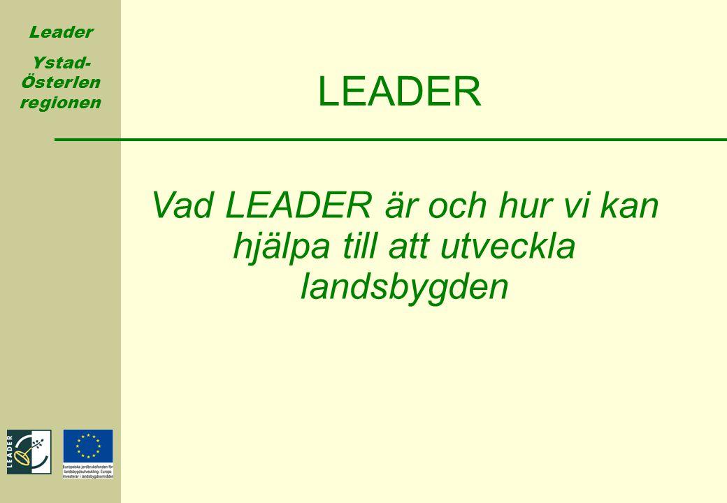 Leader Ystad- Österlen regionen LEADER Vad LEADER är och hur vi kan hjälpa till att utveckla landsbygden
