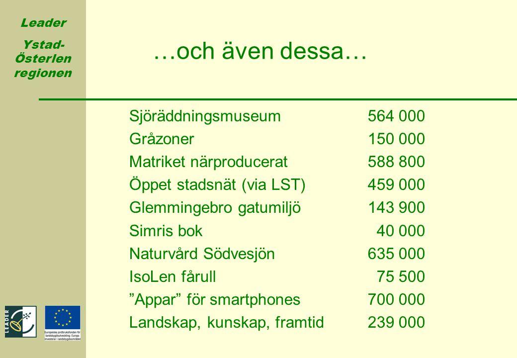 Leader Ystad- Österlen regionen Sjöräddningsmuseum564 000 Gråzoner150 000 Matriket närproducerat588 800 Öppet stadsnät (via LST)459 000 Glemmingebro g