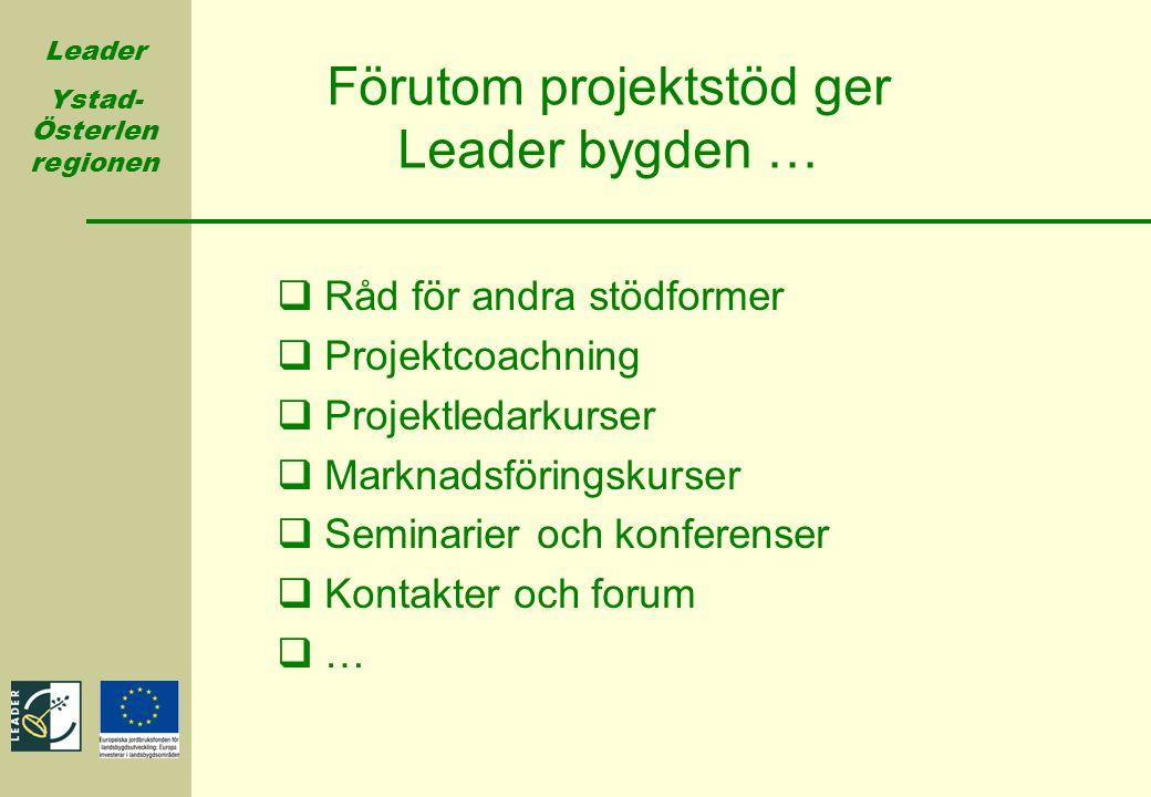 Leader Ystad- Österlen regionen  Råd för andra stödformer  Projektcoachning  Projektledarkurser  Marknadsföringskurser  Seminarier och konferense