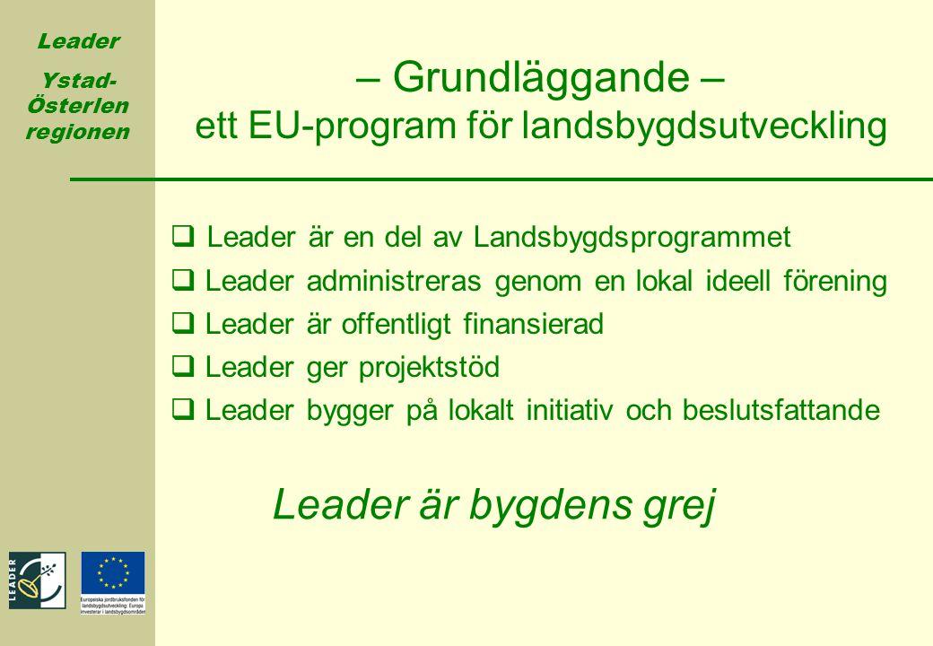 Leader Ystad- Österlen regionen – Grundläggande – ett EU-program för landsbygdsutveckling  Leader är en del av Landsbygdsprogrammet  Leader administ