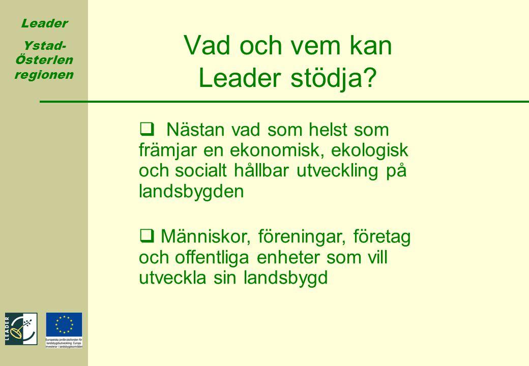 Leader Ystad- Österlen regionen Vad och vem kan Leader stödja?  Nästan vad som helst som främjar en ekonomisk, ekologisk och socialt hållbar utveckli