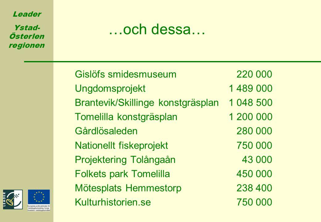 Leader Ystad- Österlen regionen …och dessa… Gislöfs smidesmuseum 220 000 Ungdomsprojekt 1 489 000 Brantevik/Skillinge konstgräsplan 1 048 500 Tomelill