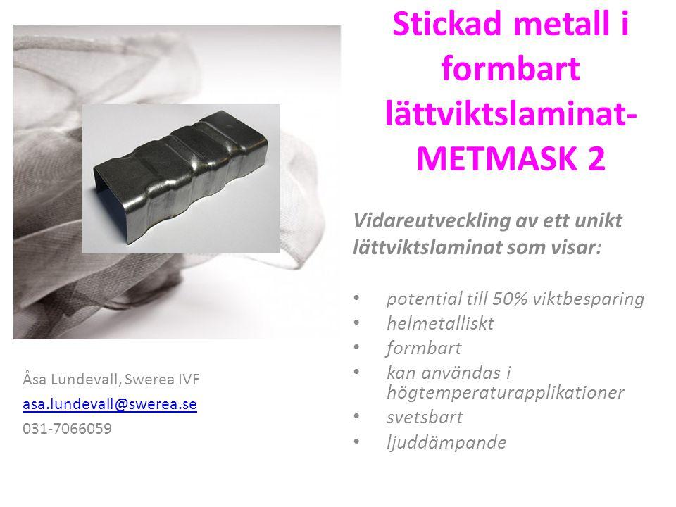 Stickad metall i formbart lättviktslaminat- METMASK 2 Vidareutveckling av ett unikt lättviktslaminat som visar: potential till 50% viktbesparing helme