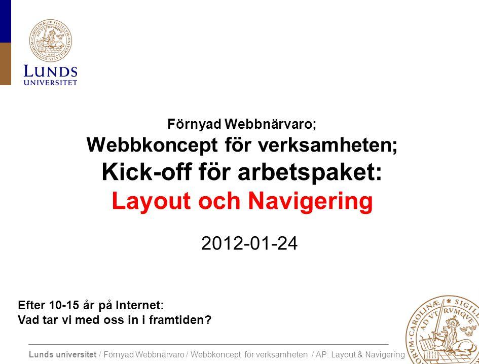 Lunds universitet / Förnyad Webbnärvaro / Webbkoncept för verksamheten / AP: Layout & Navigering Efter 10-15 år på Internet: Vad tar vi med oss in i framtiden.