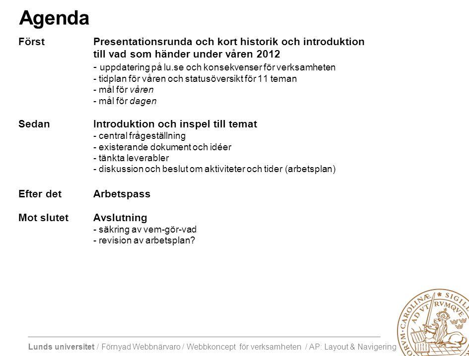 Lunds universitet / Förnyad Webbnärvaro / Webbkoncept för verksamheten / AP: Layout & Navigering Agenda FörstPresentationsrunda och kort historik och introduktion till vad som händer under våren 2012 - uppdatering på lu.se och konsekvenser för verksamheten - tidplan för våren och statusöversikt för 11 teman - mål för våren - mål för dagen SedanIntroduktion och inspel till temat - central frågeställning - existerande dokument och idéer - tänkta leverabler - diskussion och beslut om aktiviteter och tider (arbetsplan) Efter detArbetspass Mot slutetAvslutning - säkring av vem-gör-vad - revision av arbetsplan