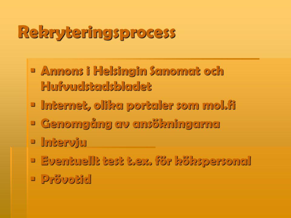 Rekryteringsprocess  Annons i Helsingin Sanomat och Hufvudstadsbladet  Internet, olika portaler som mol.fi  Genomgång av ansökningarna  Intervju 