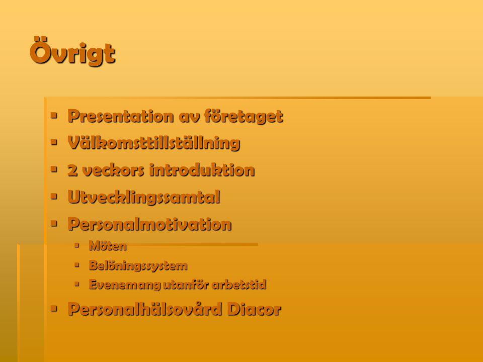 Övrigt  Presentation av företaget  Välkomsttillställning  2 veckors introduktion  Utvecklingssamtal  Personalmotivation  Möten  Belöningssystem  Evenemang utanför arbetstid  Personalhälsovård Diacor