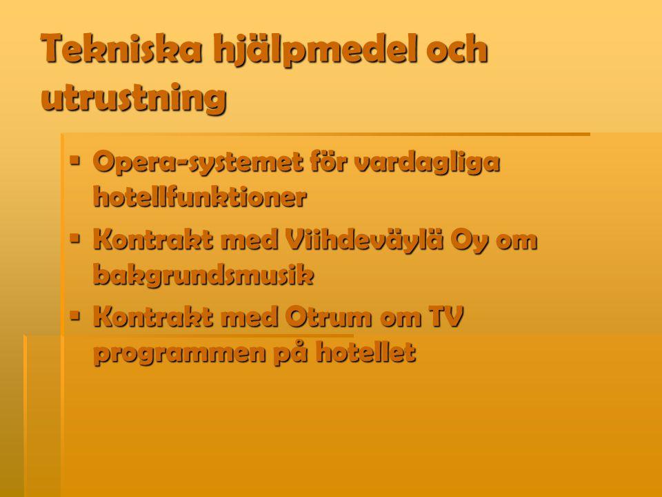 Tekniska hjälpmedel och utrustning  Opera-systemet för vardagliga hotellfunktioner  Kontrakt med Viihdeväylä Oy om bakgrundsmusik  Kontrakt med Otrum om TV programmen på hotellet
