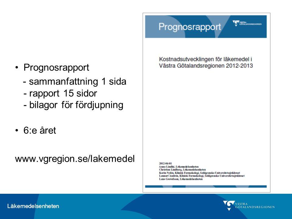 Läkemedelsenheten Prognosrapport - sammanfattning 1 sida - rapport 15 sidor - bilagor för fördjupning 6:e året www.vgregion.se/lakemedel