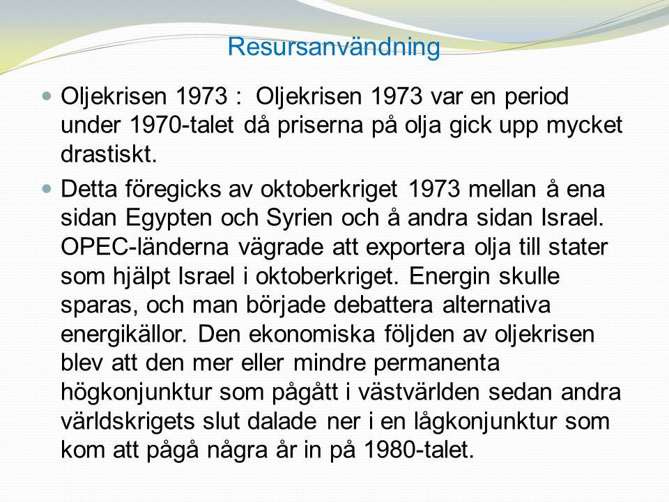 Resursanvändning Oljekrisen 1973 : Oljekrisen 1973 var en period under 1970-talet då priserna på olja gick upp mycket drastiskt. Detta föregicks av ok