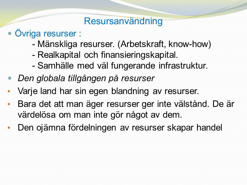 Resursanvändning Övriga resurser : - Mänskliga resurser. (Arbetskraft, know-how) - Realkapital och finansieringskapital. - Samhälle med väl fungerande