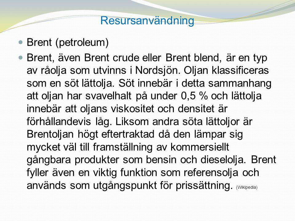 Resursanvändning Brent (petroleum) Brent, även Brent crude eller Brent blend, är en typ av råolja som utvinns i Nordsjön. Oljan klassificeras som en s