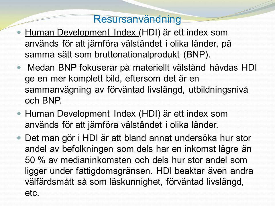 Resursanvändning Human Development Index (HDI) är ett index som används för att jämföra välståndet i olika länder, på samma sätt som bruttonationalpro