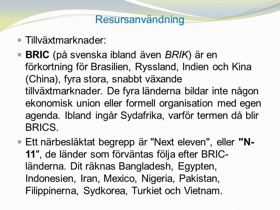 Resursanvändning Tillväxtmarknader: BRIC (på svenska ibland även BRIK) är en förkortning för Brasilien, Ryssland, Indien och Kina (China), fyra stora,