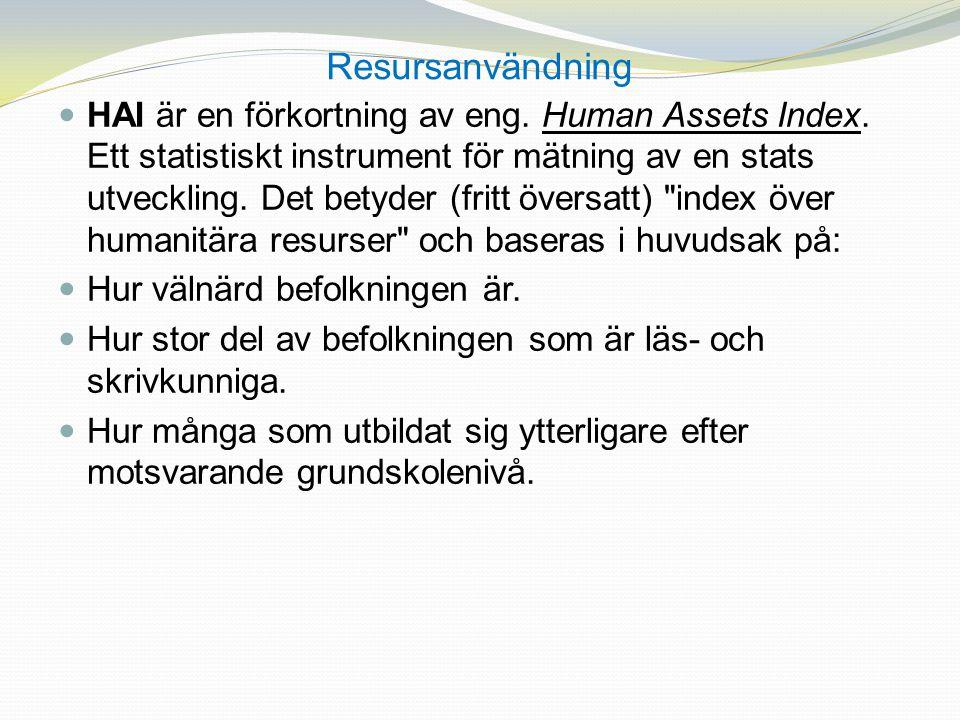 Resursanvändning HAI är en förkortning av eng. Human Assets Index. Ett statistiskt instrument för mätning av en stats utveckling. Det betyder (fritt ö