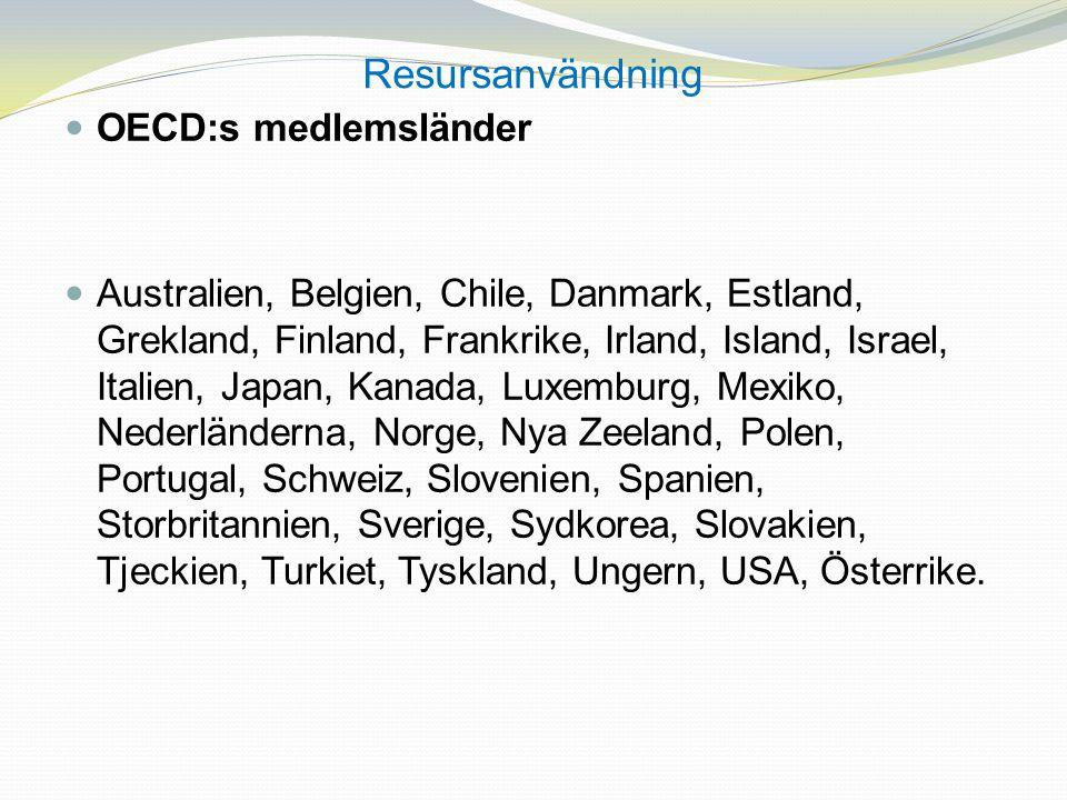 Resursanvändning OECD:s medlemsländer Australien, Belgien, Chile, Danmark, Estland, Grekland, Finland, Frankrike, Irland, Island, Israel, Italien, Jap