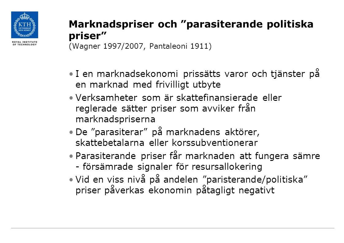 Marknadspriser och parasiterande politiska priser (Wagner 1997/2007, Pantaleoni 1911) I en marknadsekonomi prissätts varor och tjänster på en marknad med frivilligt utbyte Verksamheter som är skattefinansierade eller reglerade sätter priser som avviker från marknadspriserna De parasiterar på marknadens aktörer, skattebetalarna eller korssubventionerar Parasiterande priser får marknaden att fungera sämre - försämrade signaler för resursallokering Vid en viss nivå på andelen paristerande/politiska priser påverkas ekonomin påtagligt negativt