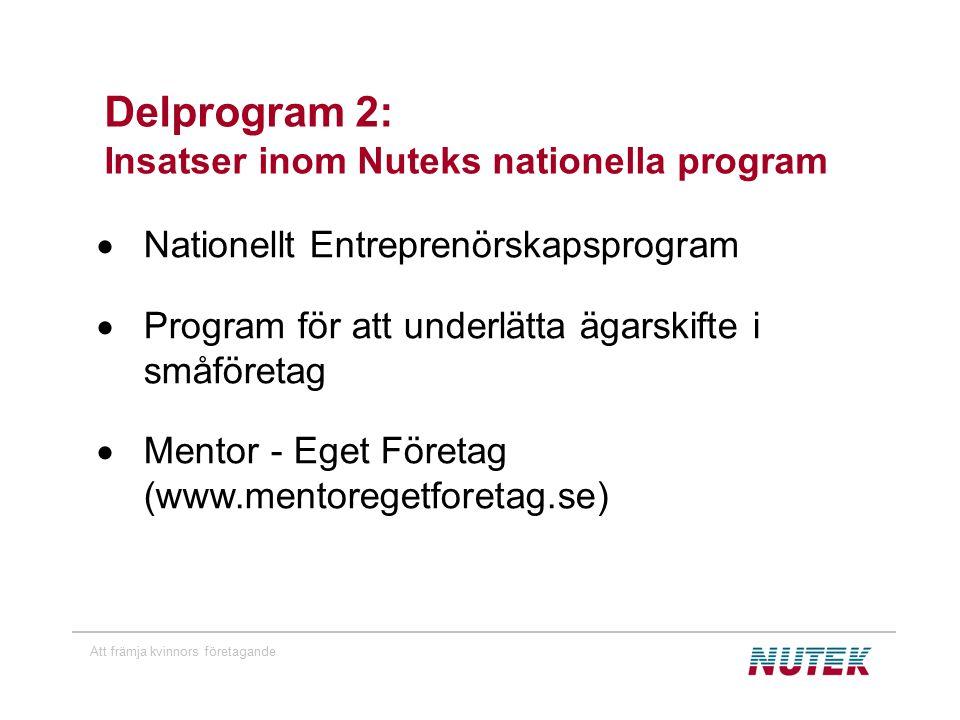 Att främja kvinnors företagande Delprogram 2: Insatser inom Nuteks nationella program  Nationellt Entreprenörskapsprogram  Program för att underlätta ägarskifte i småföretag  Mentor - Eget Företag (www.mentoregetforetag.se)
