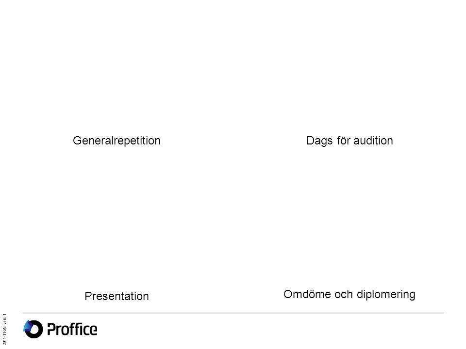 Generalrepetition Presentation Dags för audition Omdöme och diplomering 2011-11-29 vers 1