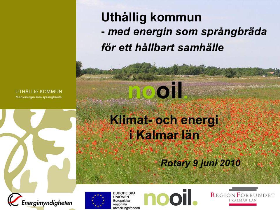 Kalmar län - nationellt pilotlän TEMADAGAR 2009-2010 Upphandling av varor och tjänster Solenergi Biogas Energieffektivisering i befintlig bebyggelse Uthålliga transporter Utbildning för fastighetsskötare