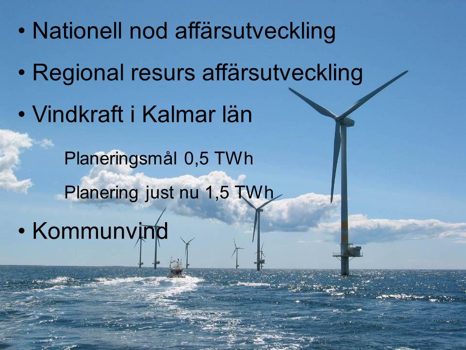 Nationell nod affärsutveckling Regional resurs affärsutveckling Vindkraft i Kalmar län Planeringsmål 0,5 TWh Planering just nu 1,5 TWh Kommunvind