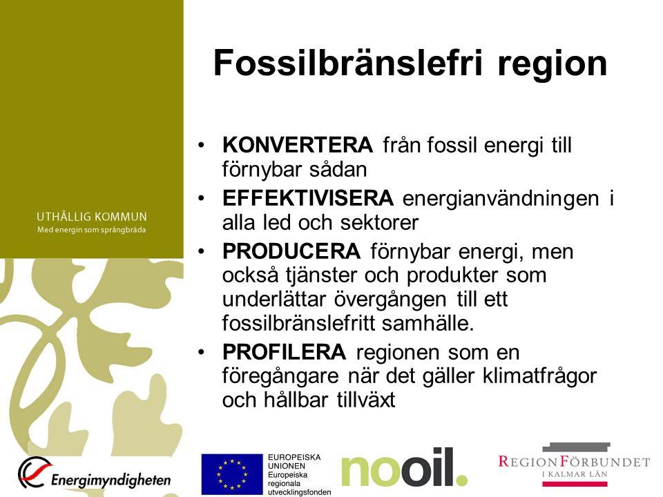 Fossilbränslefri region KONVERTERA från fossil energi till förnybar sådan EFFEKTIVISERA energianvändningen i alla led och sektorer PRODUCERA förnybar