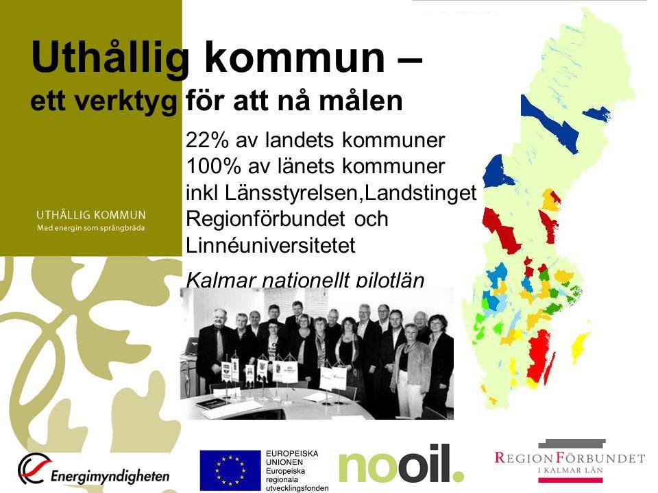 Uthållig kommun – ett verktyg för att nå målen 22% av landets kommuner 100% av länets kommuner inkl Länsstyrelsen,Landstinget Regionförbundet och Linn