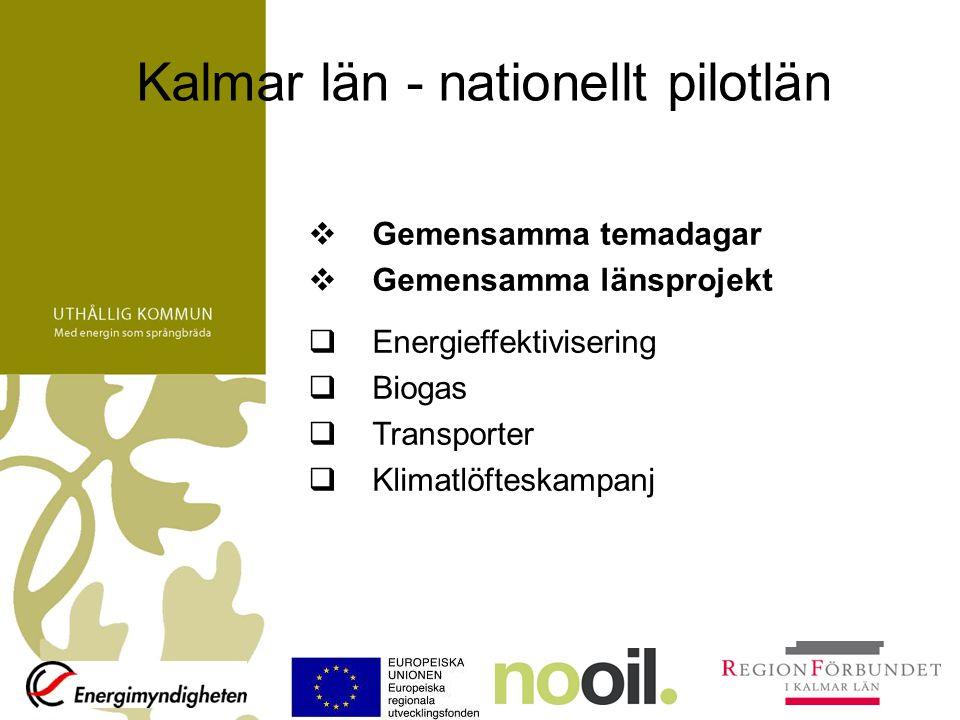 Kalmar län - nationellt pilotlän  Gemensamma temadagar  Gemensamma länsprojekt  Energieffektivisering  Biogas  Transporter  Klimatlöfteskampanj