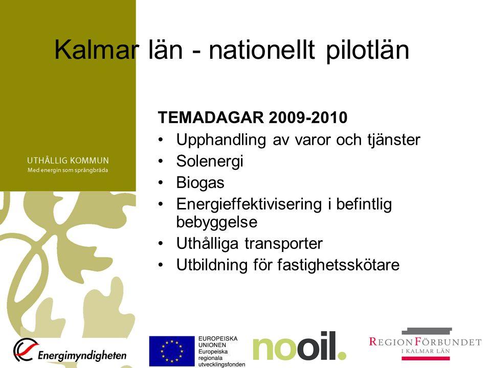 Kalmar län - nationellt pilotlän TEMADAGAR 2009-2010 Upphandling av varor och tjänster Solenergi Biogas Energieffektivisering i befintlig bebyggelse U