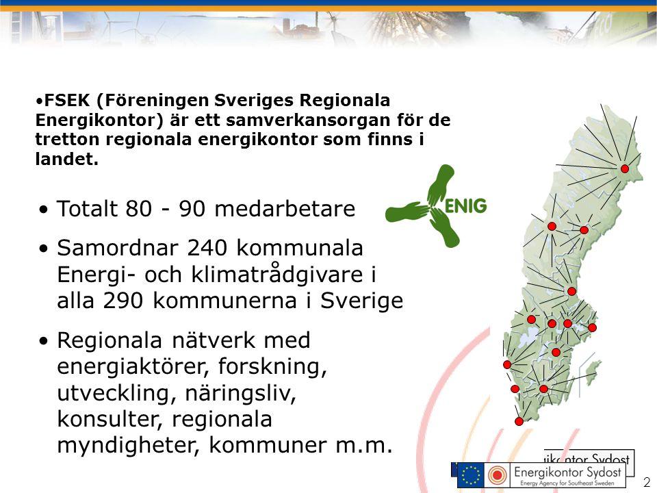 2 Totalt 80 - 90 medarbetare Samordnar 240 kommunala Energi- och klimatrådgivare i alla 290 kommunerna i Sverige Regionala nätverk med energiaktörer, forskning, utveckling, näringsliv, konsulter, regionala myndigheter, kommuner m.m.