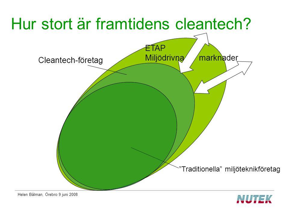 Helen Bålman, Örebro 9 juni 2008 Hur stort är framtidens cleantech.