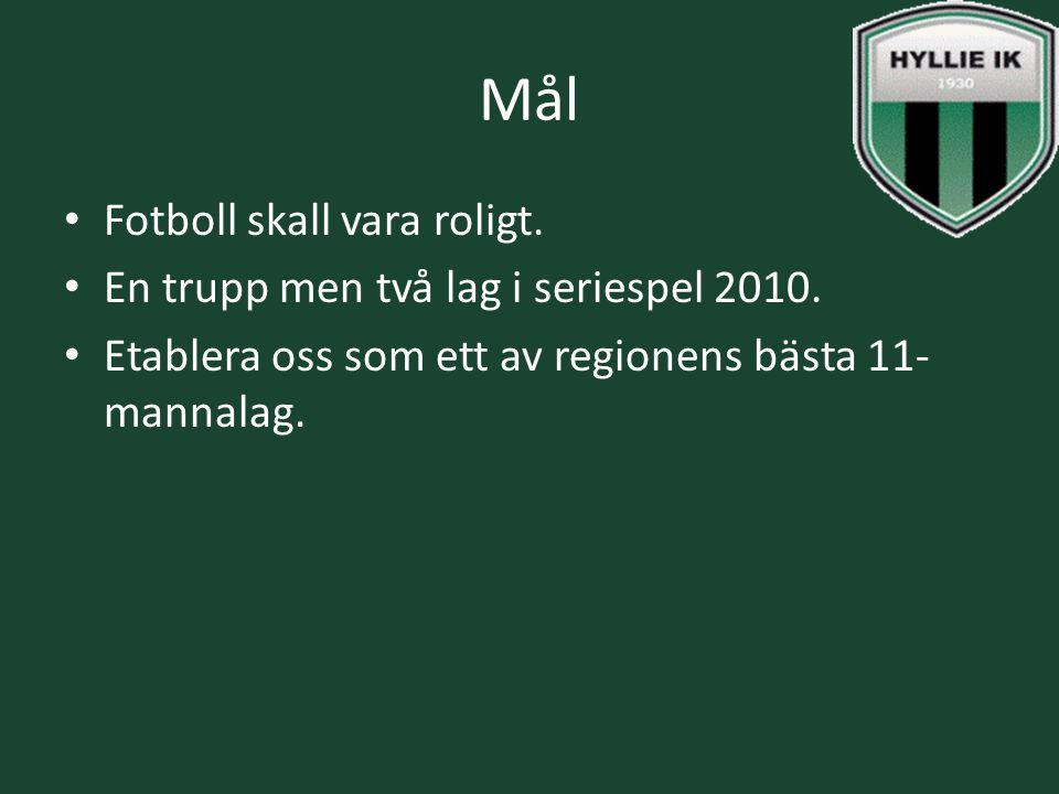 Mål Fotboll skall vara roligt. En trupp men två lag i seriespel 2010. Etablera oss som ett av regionens bästa 11- mannalag.