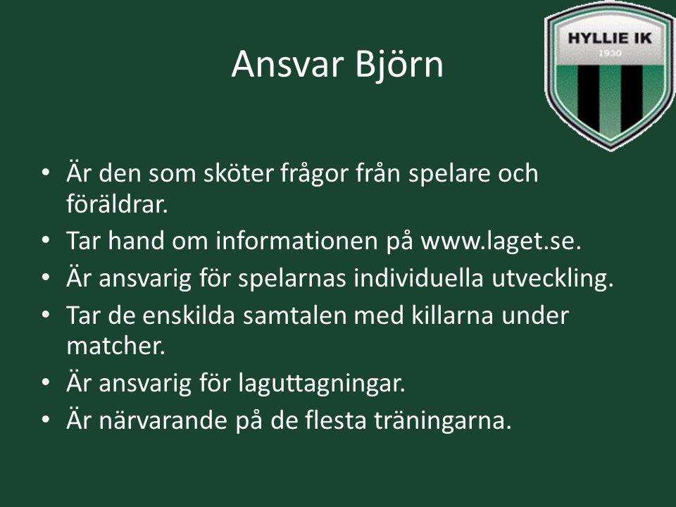 Ansvar Björn Är den som sköter frågor från spelare och föräldrar. Tar hand om informationen på www.laget.se. Är ansvarig för spelarnas individuella ut