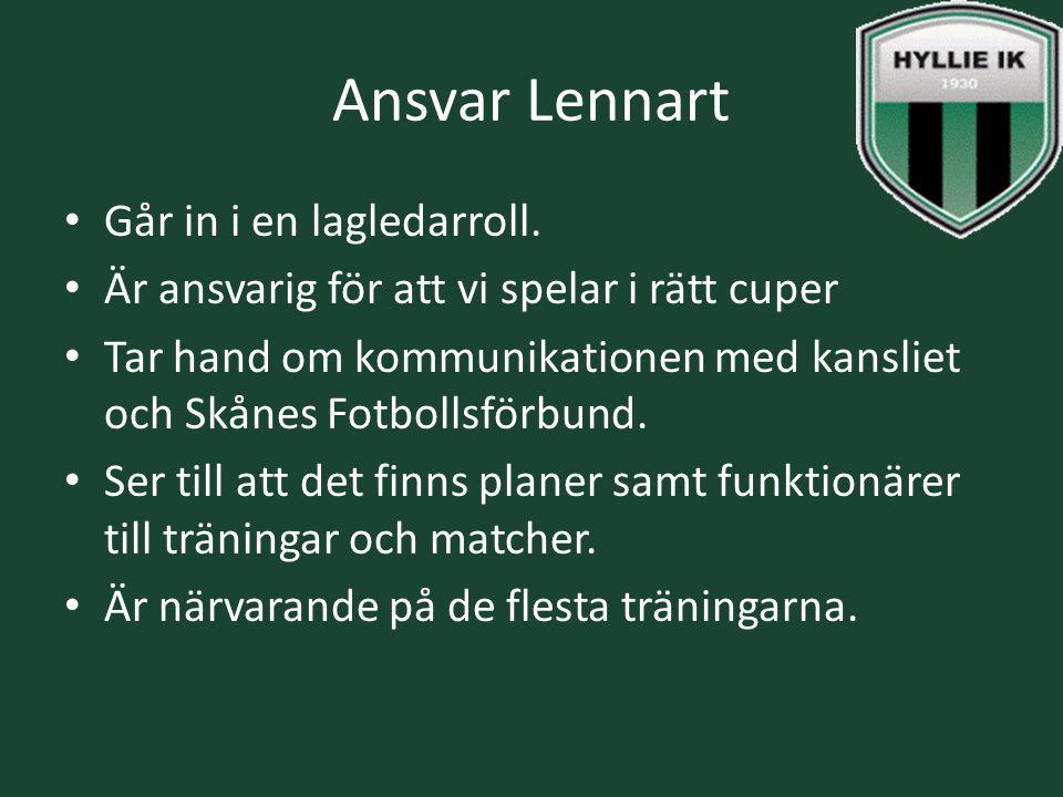 Ansvar Lennart Går in i en lagledarroll. Är ansvarig för att vi spelar i rätt cuper Tar hand om kommunikationen med kansliet och Skånes Fotbollsförbun