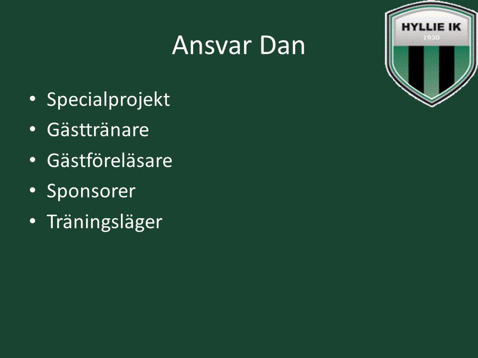 Ansvar Dan Specialprojekt Gästtränare Gästföreläsare Sponsorer Träningsläger
