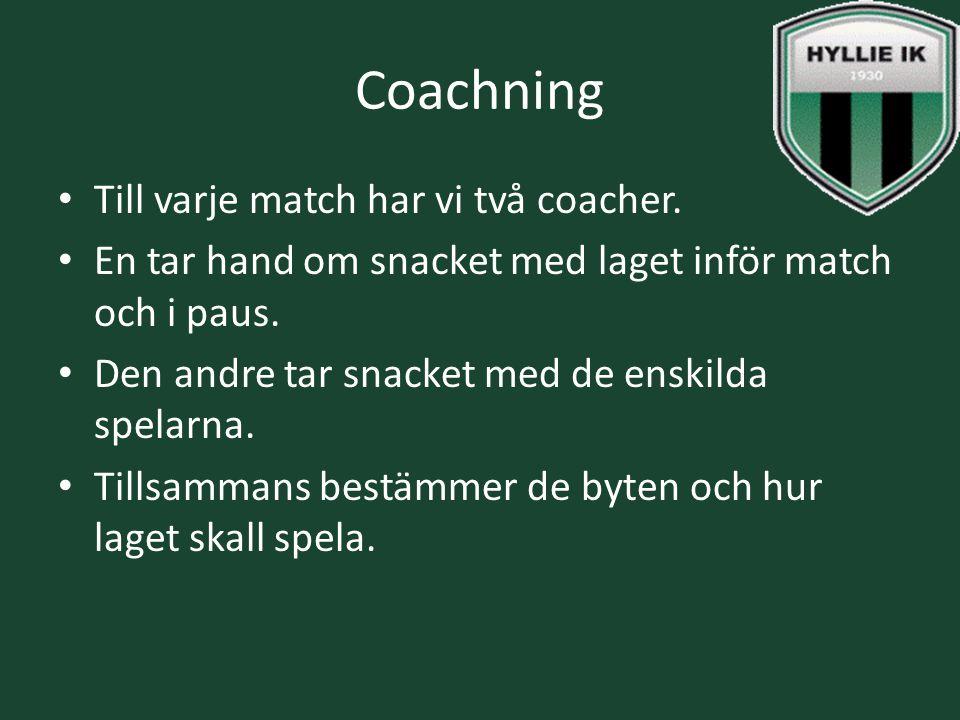 Coachning Till varje match har vi två coacher. En tar hand om snacket med laget inför match och i paus. Den andre tar snacket med de enskilda spelarna